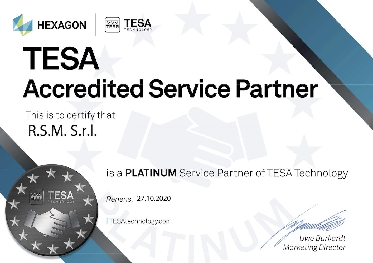 Certificate TESA RSM
